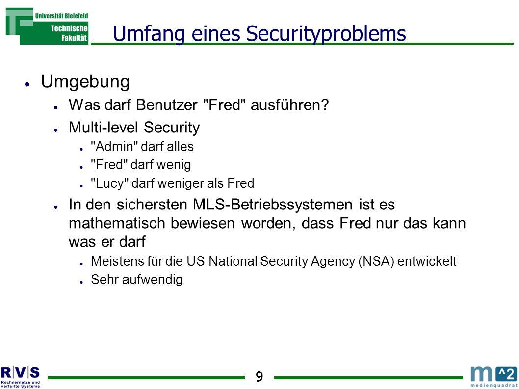 9 Umfang eines Securityproblems Umgebung Was darf Benutzer Fred ausführen.