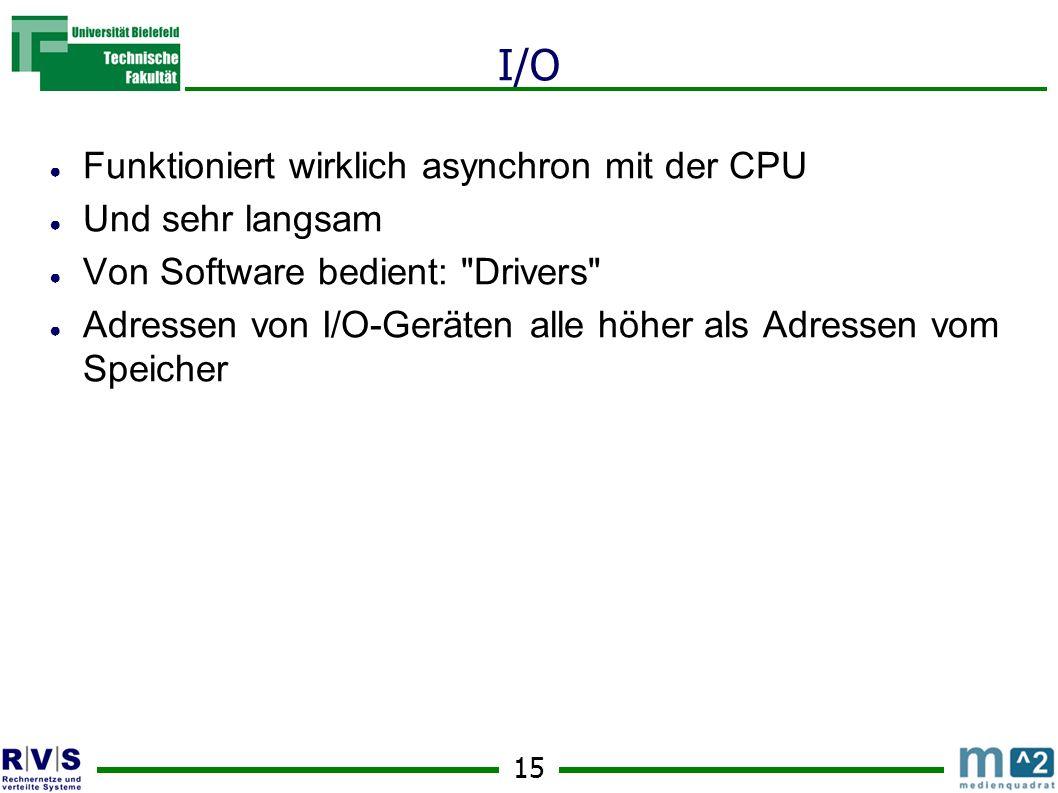 15 I/O Funktioniert wirklich asynchron mit der CPU Und sehr langsam Von Software bedient: Drivers Adressen von I/O-Geräten alle höher als Adressen vom Speicher