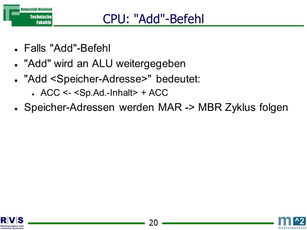 20 CPU: Add -Befehl Falls Add -Befehl Add wird an ALU weitergegeben Add bedeutet: ACC + ACC Speicher-Adressen werden MAR -> MBR Zyklus folgen