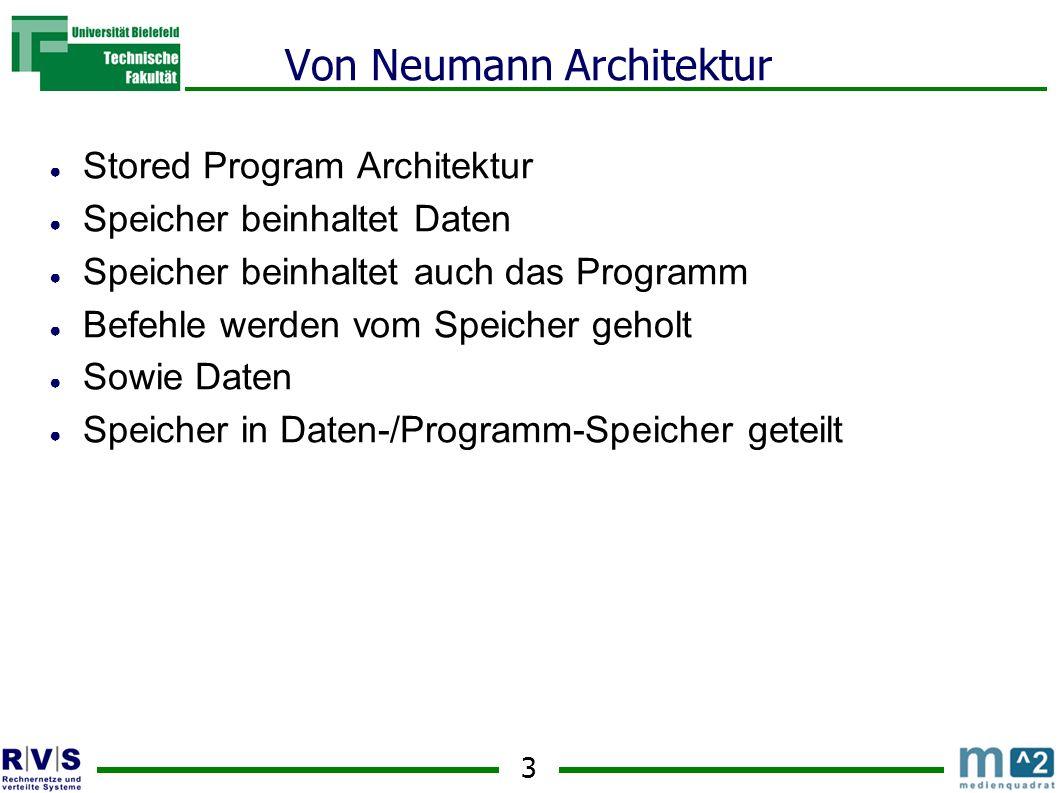 3 Von Neumann Architektur Stored Program Architektur Speicher beinhaltet Daten Speicher beinhaltet auch das Programm Befehle werden vom Speicher geholt Sowie Daten Speicher in Daten-/Programm-Speicher geteilt