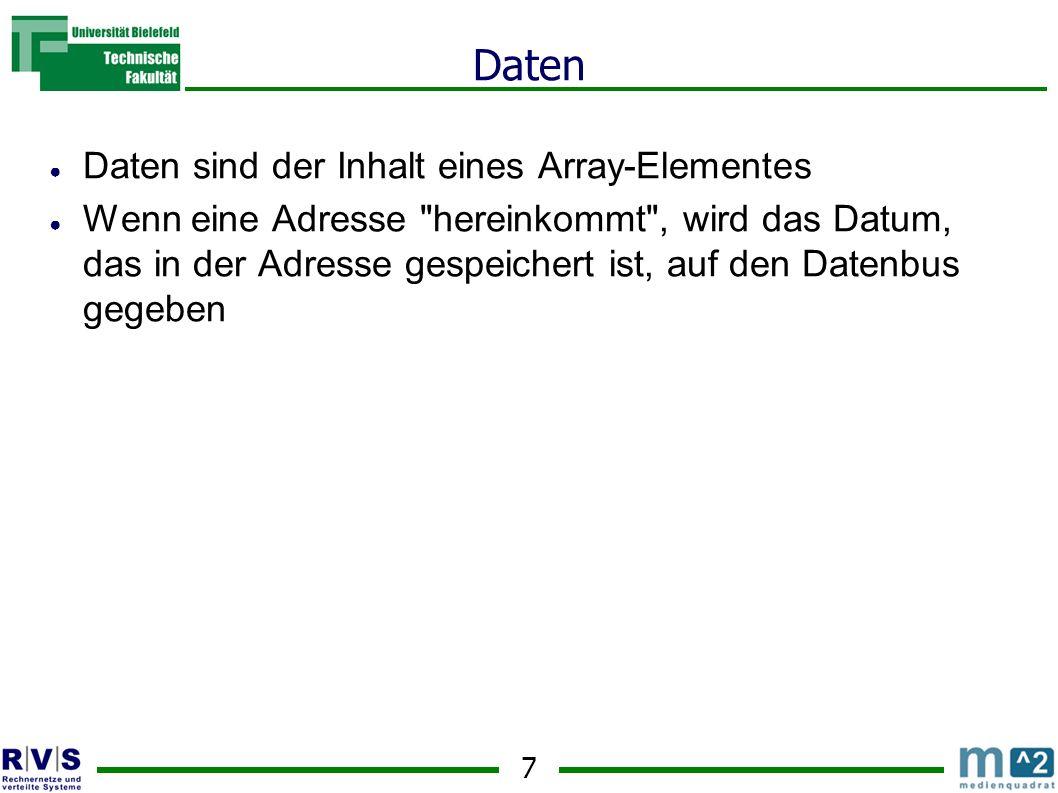 7 Daten Daten sind der Inhalt eines Array-Elementes Wenn eine Adresse hereinkommt , wird das Datum, das in der Adresse gespeichert ist, auf den Datenbus gegeben
