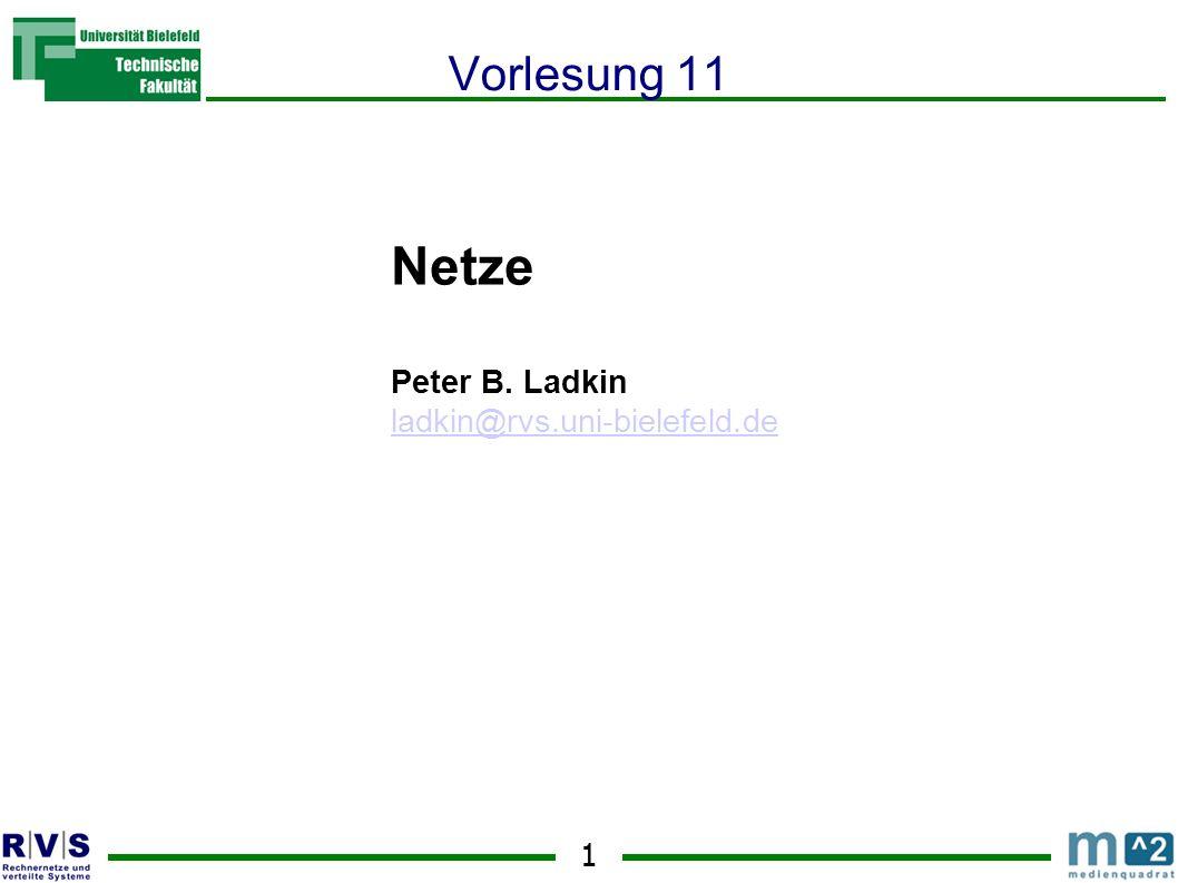 1 Netze Peter B. Ladkin ladkin@rvs.uni-bielefeld.de Sommersemester 2001 Vorlesung 11