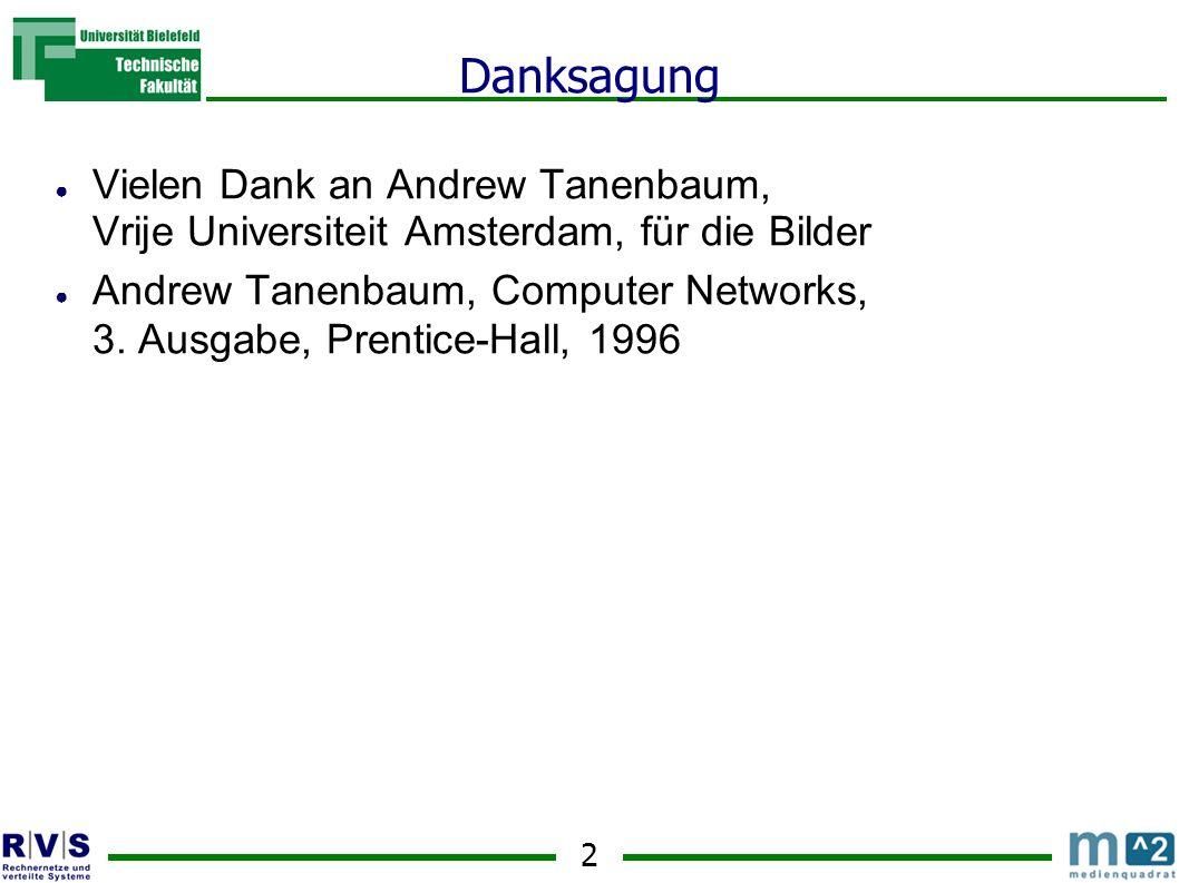 2 Danksagung Vielen Dank an Andrew Tanenbaum, Vrije Universiteit Amsterdam, für die Bilder Andrew Tanenbaum, Computer Networks, 3. Ausgabe, Prentice-H