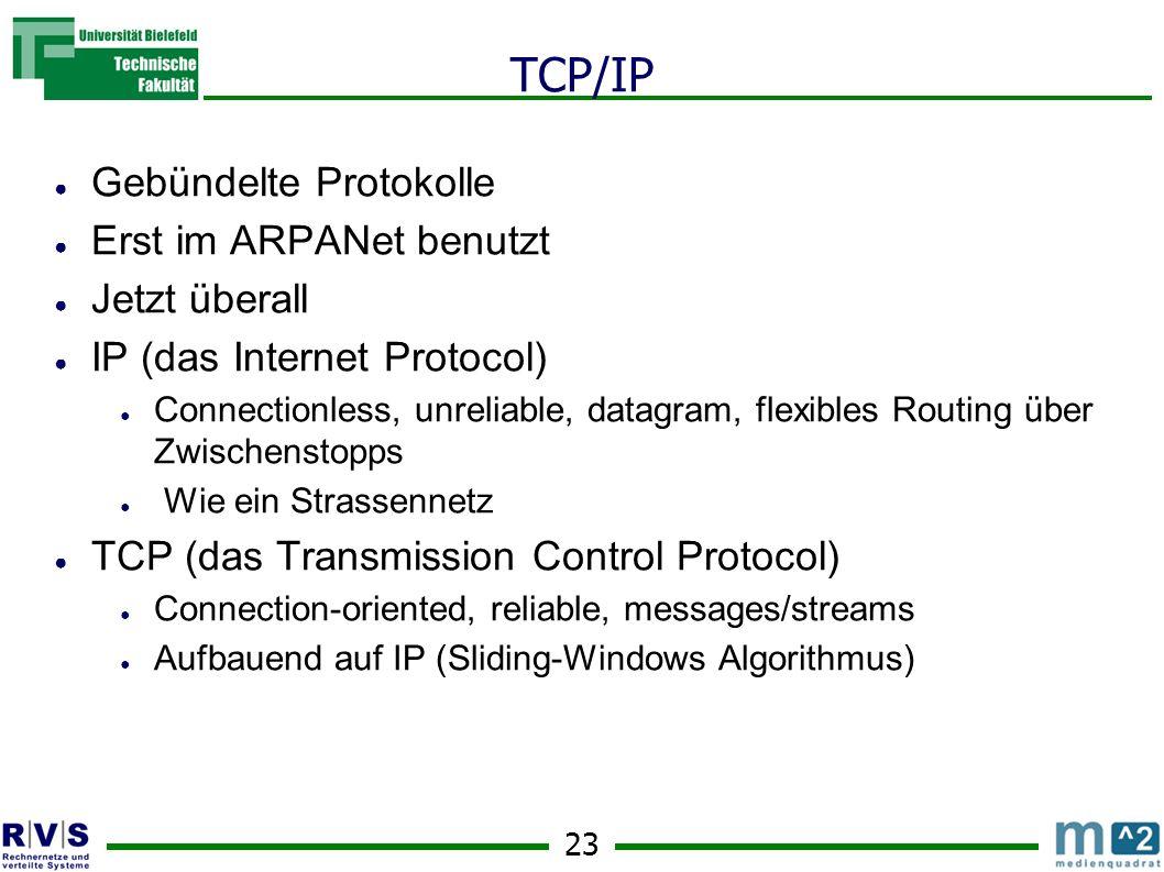23 TCP/IP Gebündelte Protokolle Erst im ARPANet benutzt Jetzt überall IP (das Internet Protocol) Connectionless, unreliable, datagram, flexibles Routi