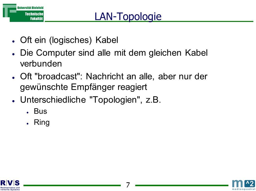 7 LAN-Topologie Oft ein (logisches) Kabel Die Computer sind alle mit dem gleichen Kabel verbunden Oft