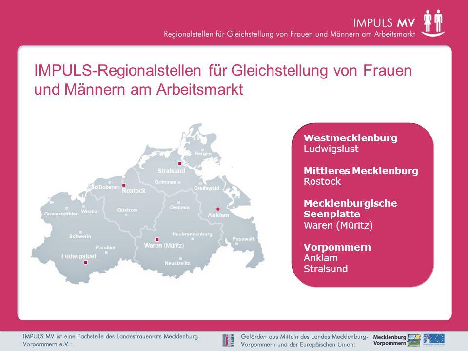 IMPULS-Regionalstellen für Gleichstellung von Frauen und Männern am Arbeitsmarkt Westmecklenburg Ludwigslust Mittleres Mecklenburg Rostock Mecklenburgische Seenplatte Waren (Müritz) Vorpommern Anklam Stralsund