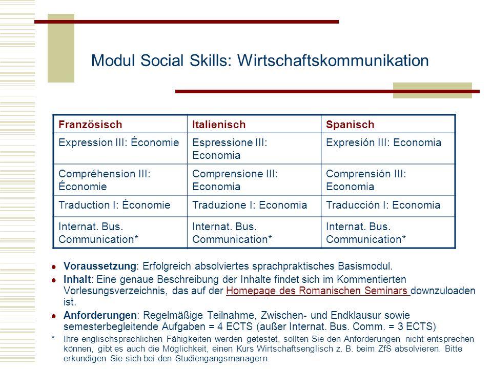 Modul Social Skills: Wirtschaftskommunikation Voraussetzung: Erfolgreich absolviertes sprachpraktisches Basismodul. Inhalt: Eine genaue Beschreibung d