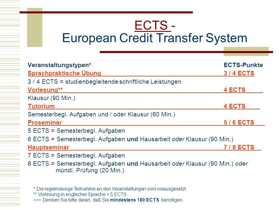 ECTS ECTS - European Credit Transfer System Veranstaltungstypen* ECTS-Punkte Sprachpraktische Übung3 / 4 ECTS 3 / 4 ECTS = studienbegleitende schriftl