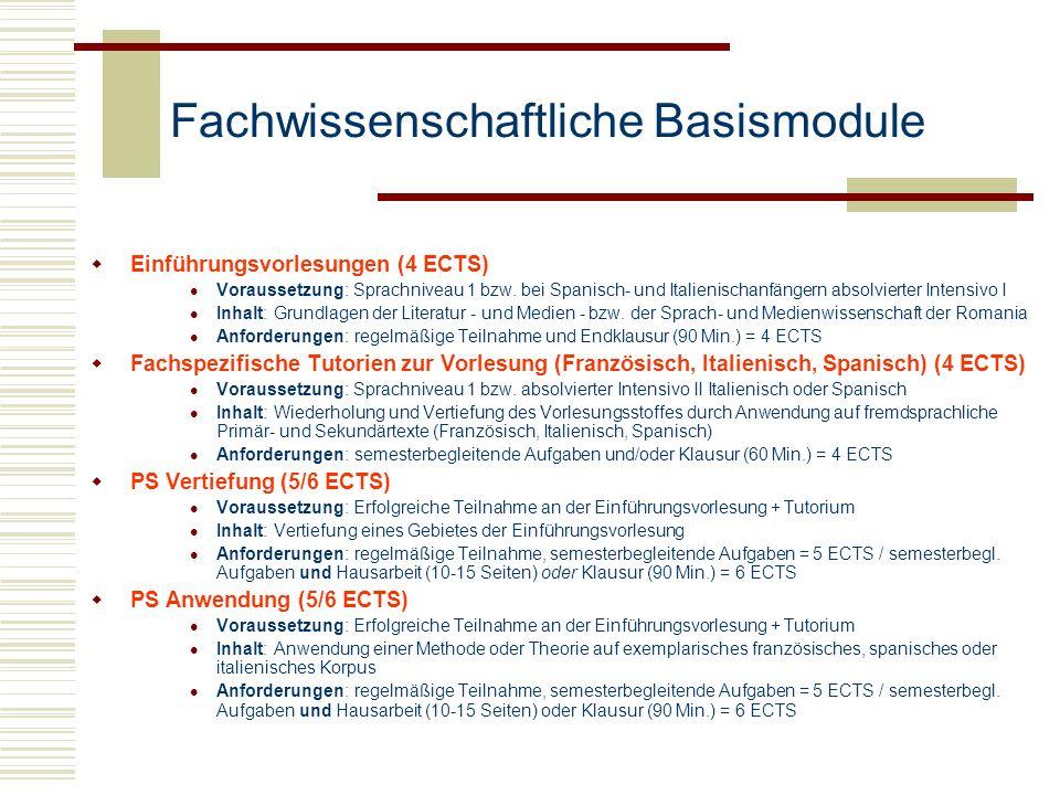 Fachwissenschaftliche Basismodule Einführungsvorlesungen (4 ECTS) Voraussetzung: Sprachniveau 1 bzw. bei Spanisch- und Italienischanfängern absolviert