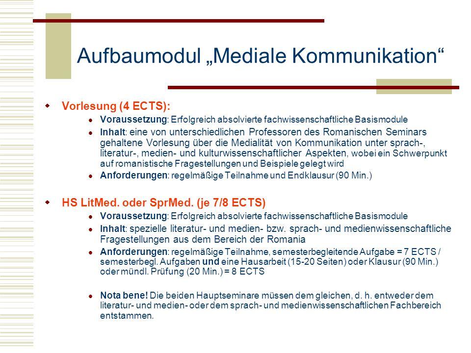 Aufbaumodul Mediale Kommunikation Vorlesung (4 ECTS): Voraussetzung: Erfolgreich absolvierte fachwissenschaftliche Basismodule Inhalt: eine von unters