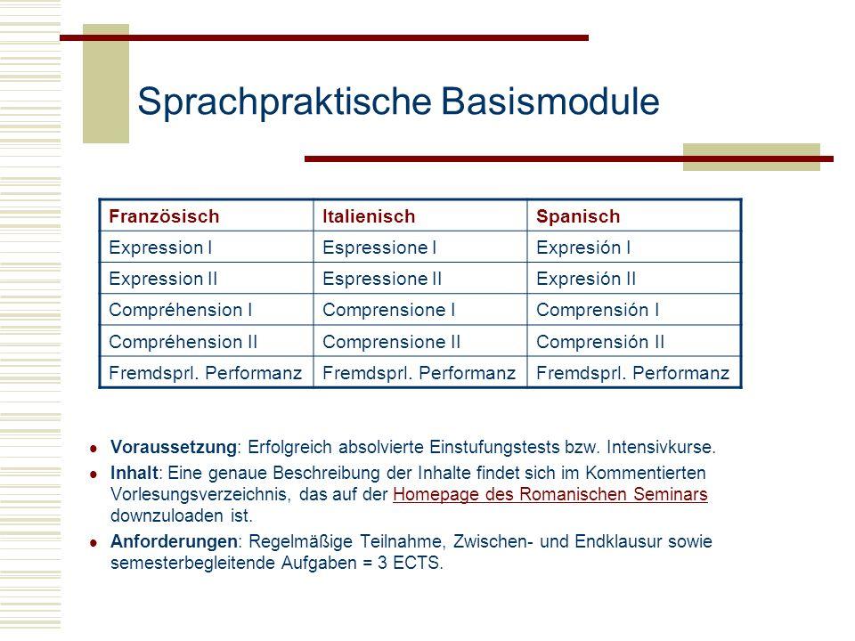 Sprachpraktische Basismodule Voraussetzung: Erfolgreich absolvierte Einstufungstests bzw. Intensivkurse. Inhalt: Eine genaue Beschreibung der Inhalte