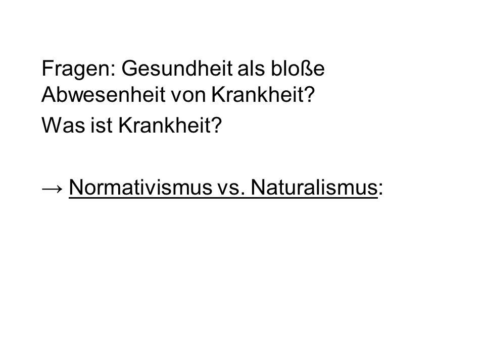 Fragen: Gesundheit als bloße Abwesenheit von Krankheit? Was ist Krankheit? Normativismus vs. Naturalismus: