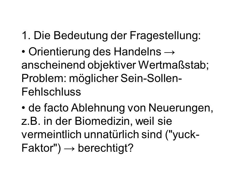 ad 1) Das Natürliche als das Biologische: alles, was die Natur hervorgebracht hat bzw.