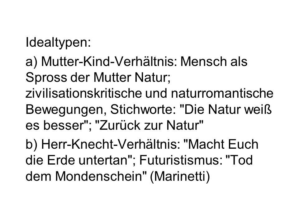 ad 4) Natürlichkeit als das Nicht-Kulturelle: vom Menschen hervorgebrachte und beeinflusste Dinge (Kultur) vs.