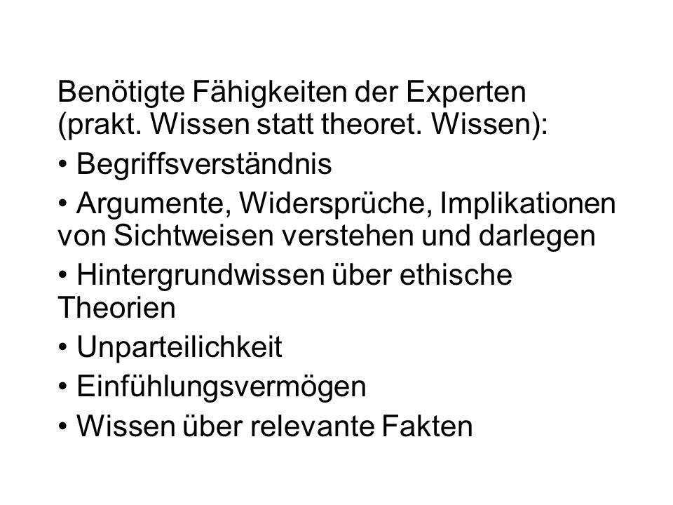Benötigte Fähigkeiten der Experten (prakt.Wissen statt theoret.