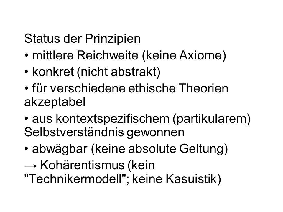 Status der Prinzipien mittlere Reichweite (keine Axiome) konkret (nicht abstrakt) für verschiedene ethische Theorien akzeptabel aus kontextspezifische