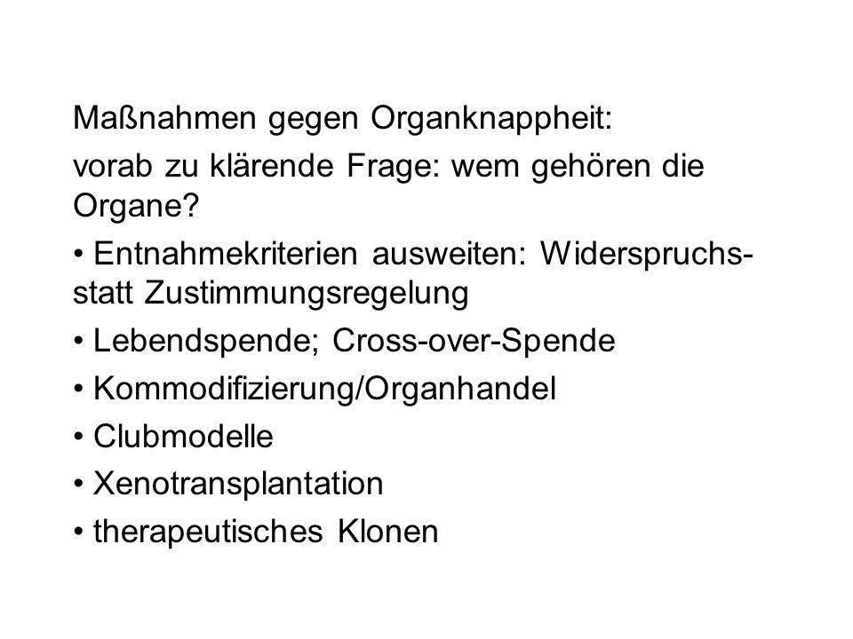 Maßnahmen gegen Organknappheit: vorab zu klärende Frage: wem gehören die Organe? Entnahmekriterien ausweiten: Widerspruchs- statt Zustimmungsregelung