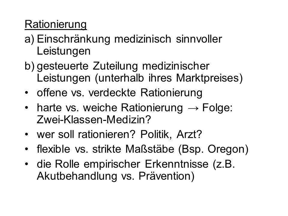 Rationierung a)Einschränkung medizinisch sinnvoller Leistungen b)gesteuerte Zuteilung medizinischer Leistungen (unterhalb ihres Marktpreises) offene v