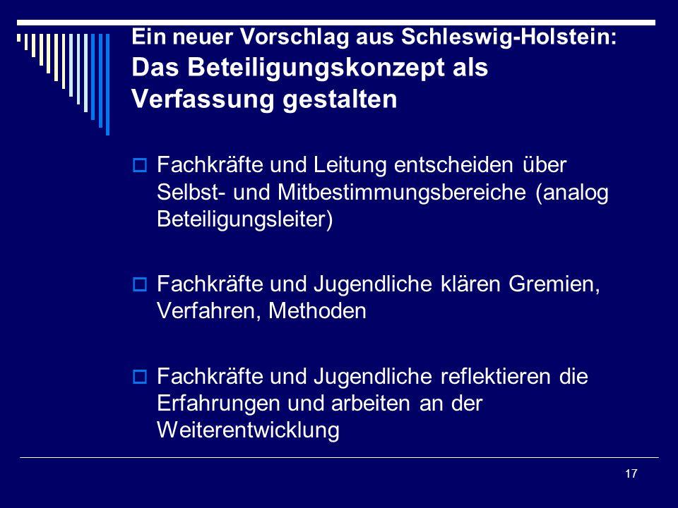 17 Ein neuer Vorschlag aus Schleswig-Holstein: Das Beteiligungskonzept als Verfassung gestalten Fachkräfte und Leitung entscheiden über Selbst- und Mi