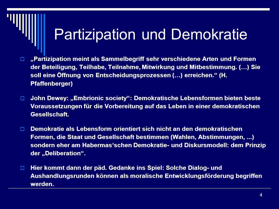 4 Partizipation und Demokratie Partizipation meint als Sammelbegriff sehr verschiedene Arten und Formen der Beteiligung, Teilhabe, Teilnahme, Mitwirku