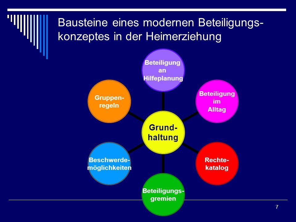 8 Rechte-Katalog Gibt es einen Konsens im Team und in der gesamten Einrichtung über die Rechte der Kinder und Jugendlichen.