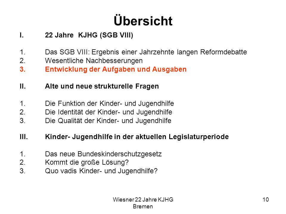 Wiesner 22 Jahre KJHG Bremen 10 Übersicht I.22 Jahre KJHG (SGB VIII) 1.Das SGB VIII: Ergebnis einer Jahrzehnte langen Reformdebatte 2.Wesentliche Nach