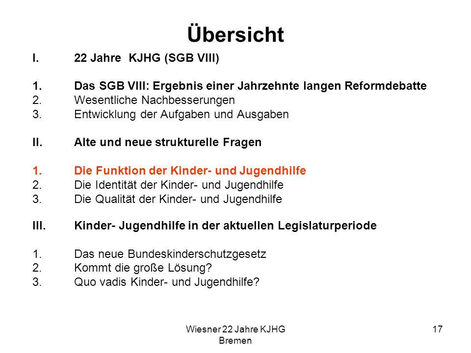 Wiesner 22 Jahre KJHG Bremen 17 Übersicht I.22 Jahre KJHG (SGB VIII) 1.Das SGB VIII: Ergebnis einer Jahrzehnte langen Reformdebatte 2.Wesentliche Nach
