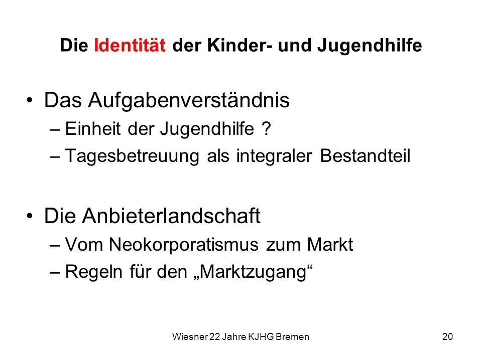 Wiesner 22 Jahre KJHG Bremen20 Die Identität der Kinder- und Jugendhilfe Das Aufgabenverständnis –Einheit der Jugendhilfe ? –Tagesbetreuung als integr