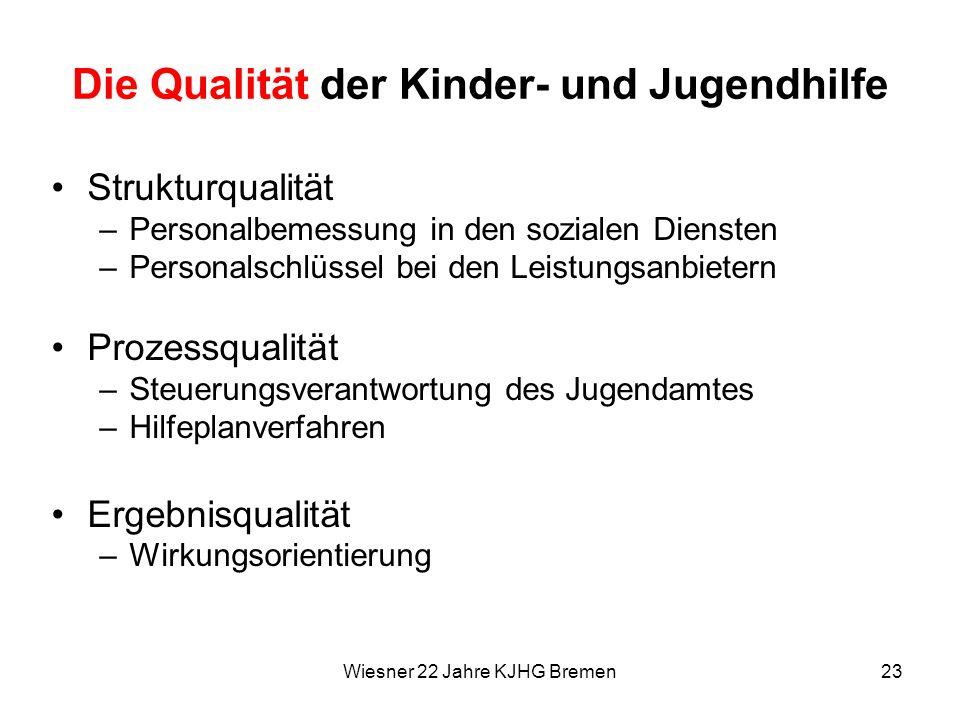 Wiesner 22 Jahre KJHG Bremen23 Die Qualität der Kinder- und Jugendhilfe Strukturqualität –Personalbemessung in den sozialen Diensten –Personalschlüsse