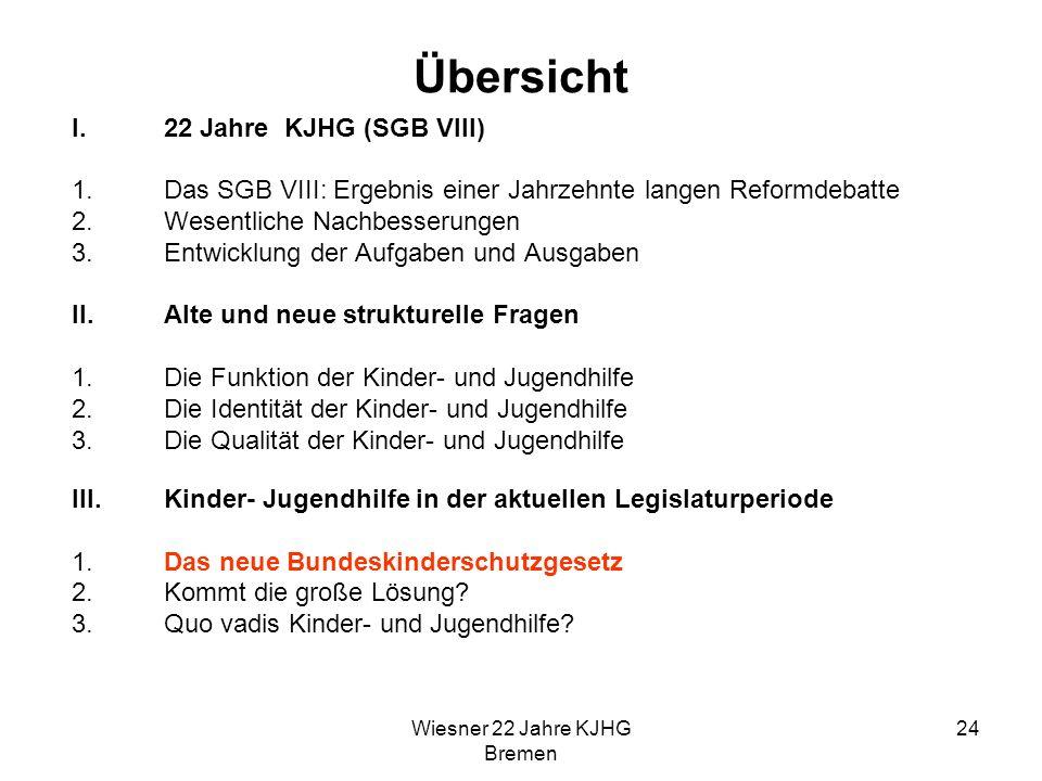 Wiesner 22 Jahre KJHG Bremen 24 Übersicht I.22 Jahre KJHG (SGB VIII) 1.Das SGB VIII: Ergebnis einer Jahrzehnte langen Reformdebatte 2.Wesentliche Nach