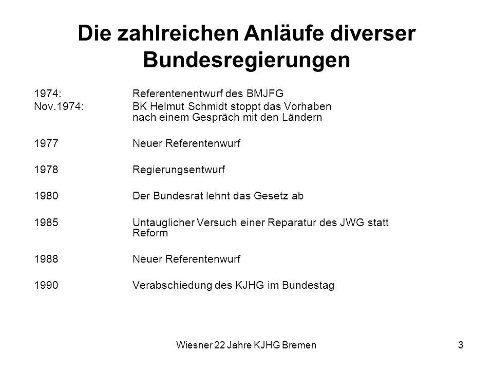 Wiesner 22 Jahre KJHG Bremen3 Die zahlreichen Anläufe diverser Bundesregierungen 1974: Referentenentwurf des BMJFG Nov.1974: BK Helmut Schmidt stoppt
