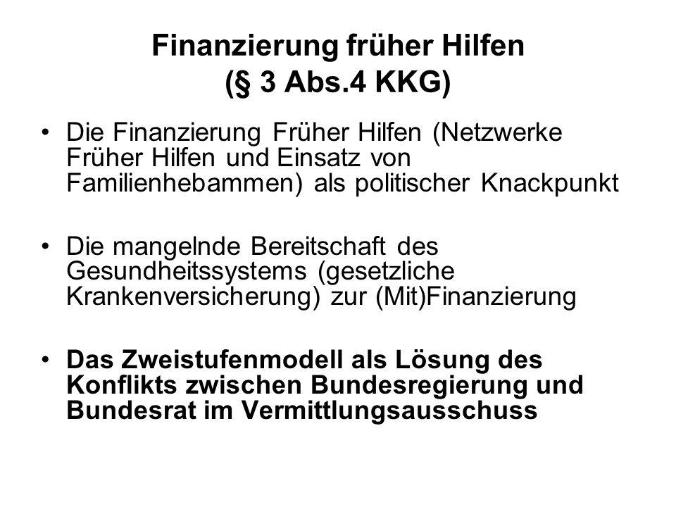 Finanzierung früher Hilfen (§ 3 Abs.4 KKG) Die Finanzierung Früher Hilfen (Netzwerke Früher Hilfen und Einsatz von Familienhebammen) als politischer K