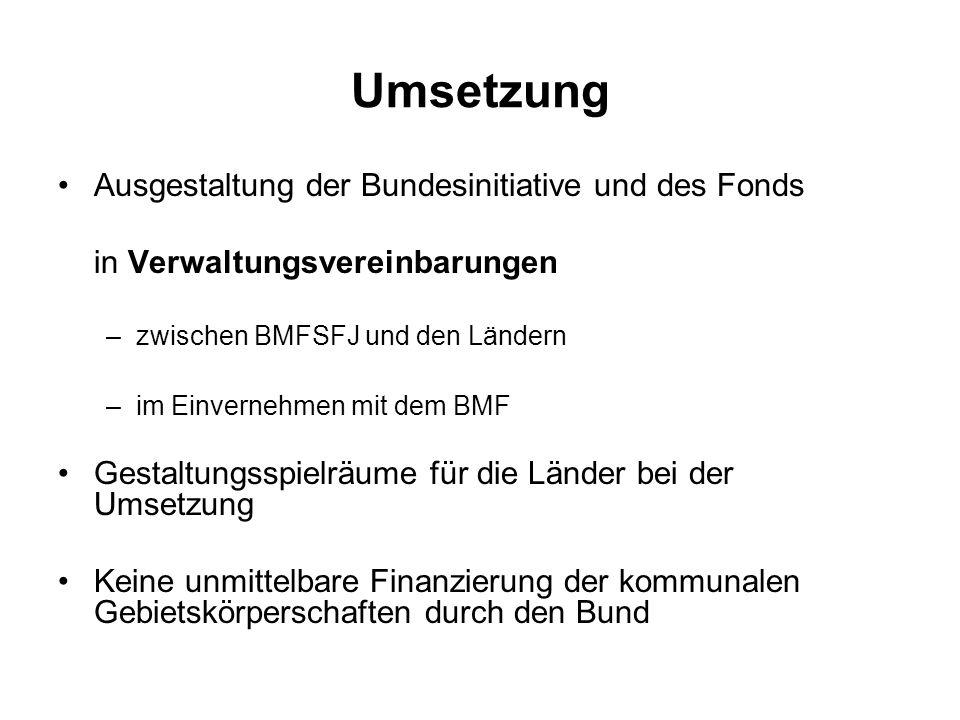 Umsetzung Ausgestaltung der Bundesinitiative und des Fonds in Verwaltungsvereinbarungen –zwischen BMFSFJ und den Ländern –im Einvernehmen mit dem BMF