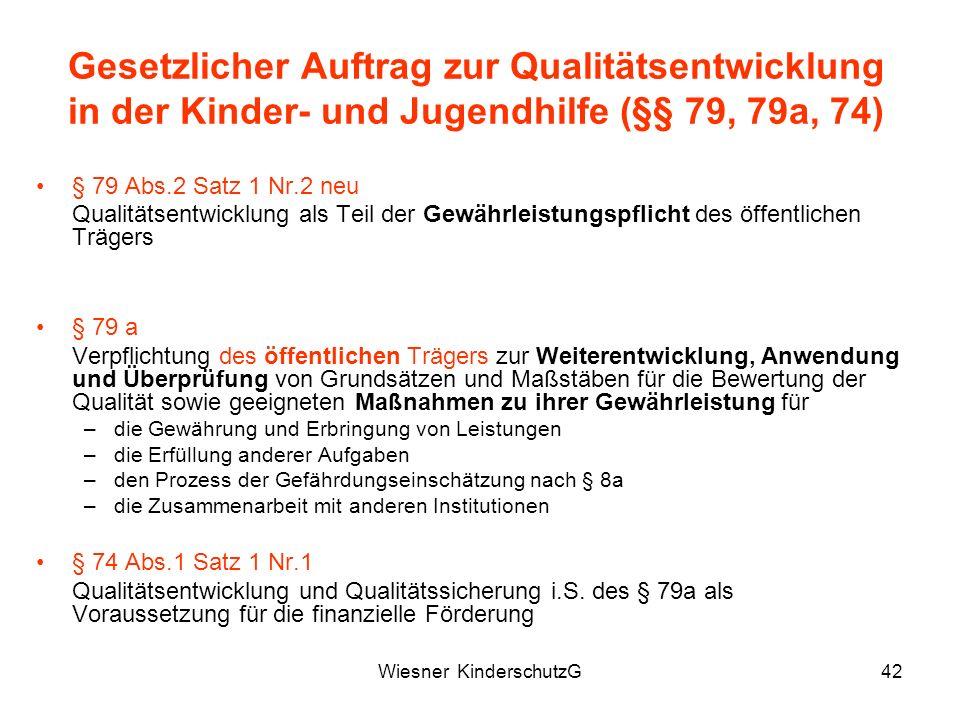 Wiesner KinderschutzG42 Gesetzlicher Auftrag zur Qualitätsentwicklung in der Kinder- und Jugendhilfe (§§ 79, 79a, 74) § 79 Abs.2 Satz 1 Nr.2 neu Quali