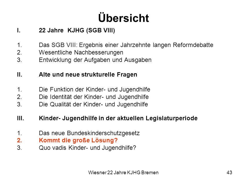 Wiesner 22 Jahre KJHG Bremen43 Übersicht I.22 Jahre KJHG (SGB VIII) 1.Das SGB VIII: Ergebnis einer Jahrzehnte langen Reformdebatte 2.Wesentliche Nachb