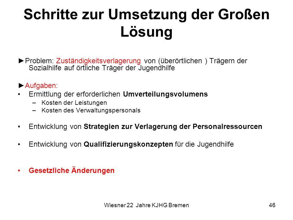 Wiesner 22 Jahre KJHG Bremen46 Schritte zur Umsetzung der Großen Lösung Problem: Zuständigkeitsverlagerung von (überörtlichen ) Trägern der Sozialhilf
