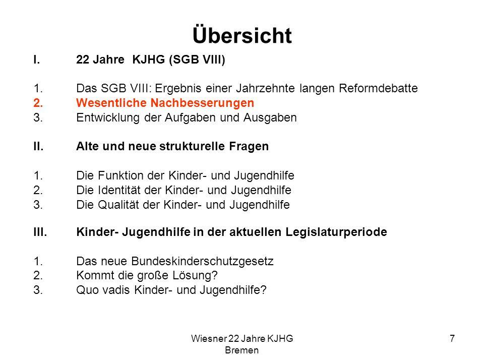 Wiesner 22 Jahre KJHG Bremen 7 Übersicht I.22 Jahre KJHG (SGB VIII) 1.Das SGB VIII: Ergebnis einer Jahrzehnte langen Reformdebatte 2.Wesentliche Nachb