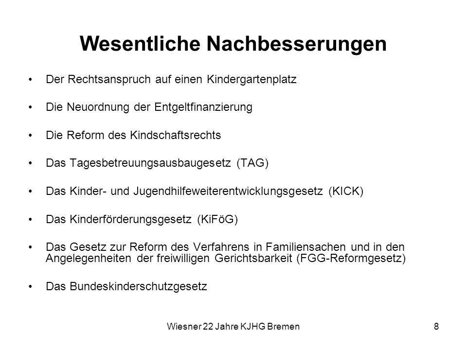 Wiesner 22 Jahre KJHG Bremen8 Wesentliche Nachbesserungen Der Rechtsanspruch auf einen Kindergartenplatz Die Neuordnung der Entgeltfinanzierung Die Re