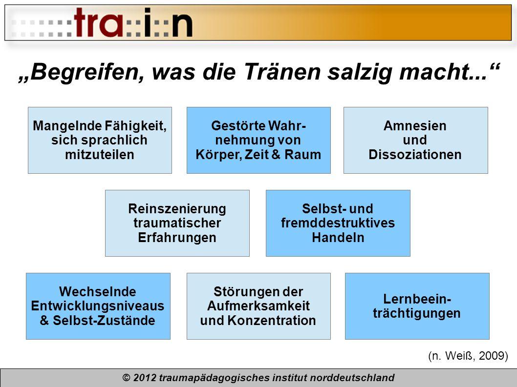 Begreifen, was die Tränen salzig macht... © 2012 traumapädagogisches institut norddeutschland Mangelnde Fähigkeit, sich sprachlich mitzuteilen Gestört