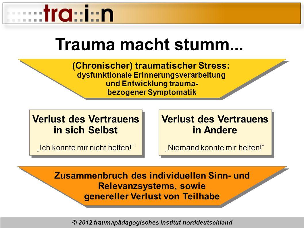 © 2012 traumapädagogisches institut norddeutschland Trauma macht stumm... (Chronischer) traumatischer Stress: dysfunktionale Erinnerungsverarbeitung u