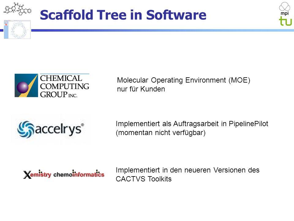 Molecular Operating Environment (MOE) nur für Kunden Implementiert als Auftragsarbeit in PipelinePilot (momentan nicht verfügbar) Implementiert in den neueren Versionen des CACTVS Toolkits Scaffold Tree in Software