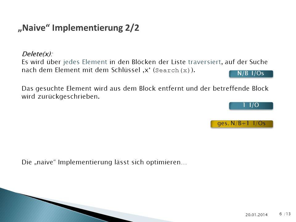 /13 20.01.2014 Naive Implementierung 2/2 Delete(x): Es wird über jedes Element in den Blöcken der Liste traversiert, auf der Suche nach dem Element mi