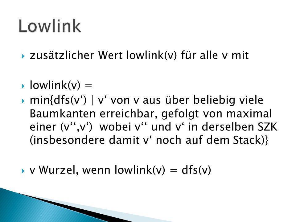 zusätzlicher Wert lowlink(v) für alle v mit lowlink(v) = min{dfs(v) | v von v aus über beliebig viele Baumkanten erreichbar, gefolgt von maximal einer