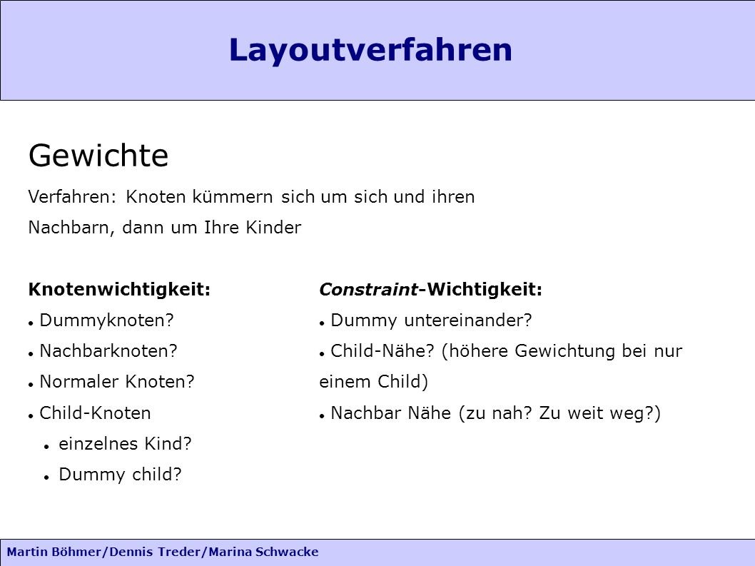 Martin Böhmer/Dennis Treder/Marina Schwacke Gewichte Verfahren: Knoten kümmern sich um sich und ihren Nachbarn, dann um Ihre Kinder Knotenwichtigkeit: Dummyknoten.