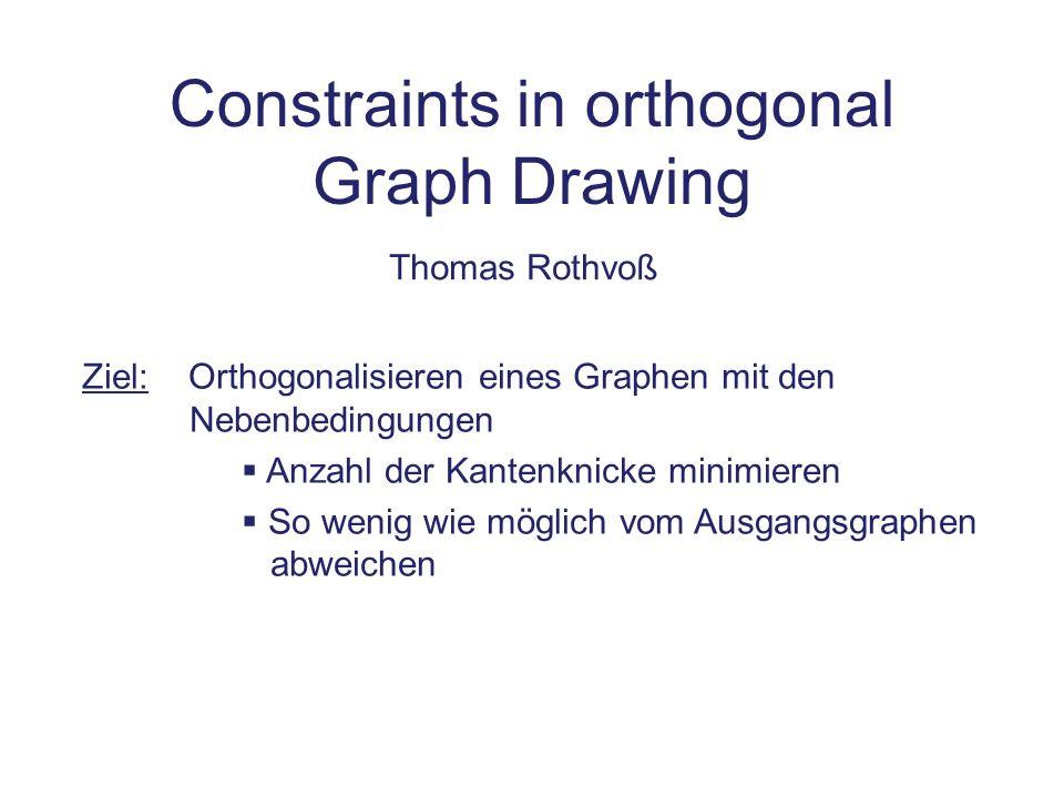 Zusammenfassung Allgemeiner Ansatz zum Orthogonalisieren: Topology = Planarisieren Shape = Winkel + Knicke festlegen Metrics = Kantenlängen festlegen Verschiedene Verfahren für den Shape-Schritt Tamassia: Graph mit max.