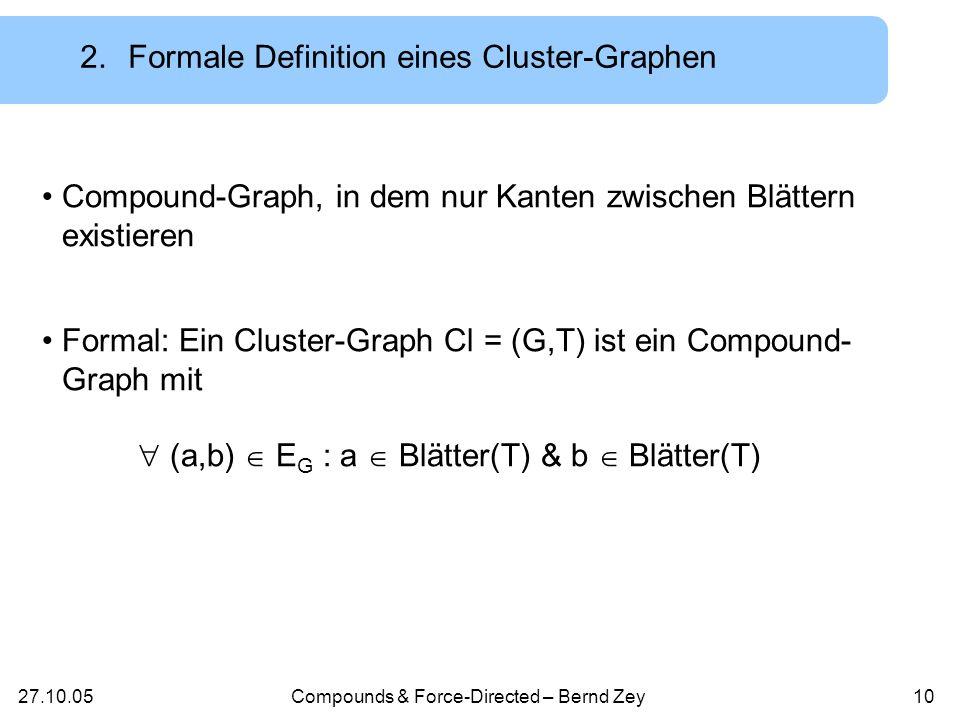 27.10.05Compounds & Force-Directed – Bernd Zey9 2.Formale Definition eines Compound-Graphen Ein Compound-Graph wird definiert durch ein Paar C = (G,T) mit G ist ein Graph: G = (V,E G ) T ist ein Baum: T = (V,E T,r), wobei folgende Bedingung erfüllt ist: (a,b) E G a Vorfahren(b) und b Vorfahren(a) 14 1361413 6 14 13 6