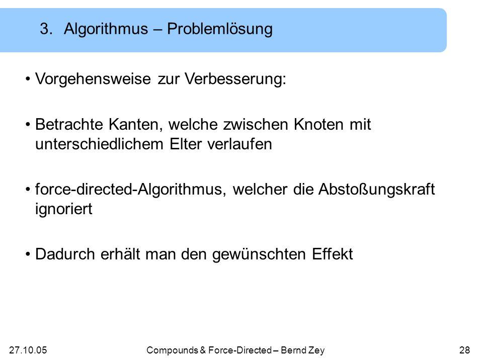 27.10.05Compounds & Force-Directed – Bernd Zey27 3.Algorithmus – Problem NUAGE ignoriert Kanten, welche im Schritt Compound Nested verändert wurden Kantenkreuzungen möglich Lösungen.