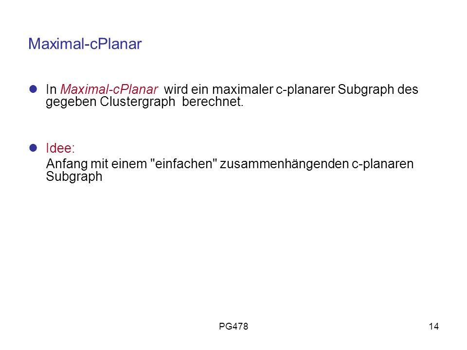PG47814 Maximal-cPlanar In Maximal-cPlanar wird ein maximaler c-planarer Subgraph des gegeben Clustergraph berechnet. Idee: Anfang mit einem