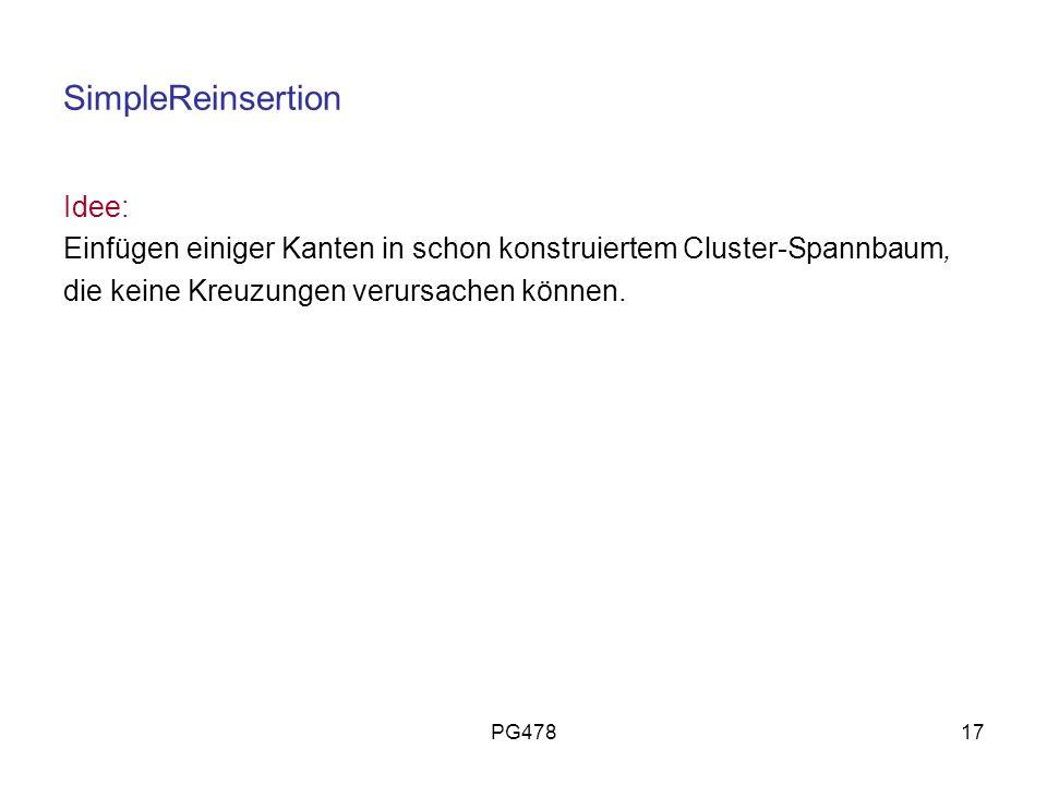 PG47817 SimpleReinsertion Idee: Einfügen einiger Kanten in schon konstruiertem Cluster-Spannbaum, die keine Kreuzungen verursachen können.
