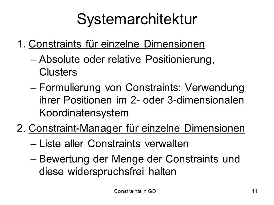 Constraints in GD 111 Systemarchitektur 1. Constraints für einzelne Dimensionen –Absolute oder relative Positionierung, Clusters –Formulierung von Con